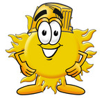 Clip Art Graphic of a Yellow Sun Cartoon Character Wearing a Hardhat Helmet