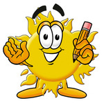 Clip Art Graphic of a Yellow Sun Cartoon Character Holding a Pencil