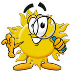 Clip Art Graphic of a Yellow Sun Cartoon Character Looking Through a Magnifying Glass