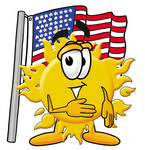Clip Art Graphic of a Yellow Sun Cartoon Character Pledging Allegiance to an American Flag