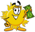 Clip Art Graphic of a Yellow Sun Cartoon Character Holding a Dollar Bill