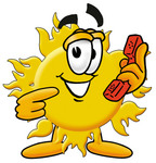 Clip Art Graphic of a Yellow Sun Cartoon Character Holding a Telephone