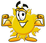 Clip Art Graphic of a Yellow Sun Cartoon Character Flexing His Arm Muscles