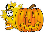 Clip Art Graphic of a Yellow Sun Cartoon Character With a Carved Halloween Pumpkin