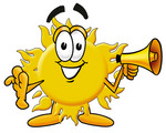 Clip Art Graphic of a Yellow Sun Cartoon Character Holding a Megaphone