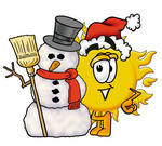 Clip Art Graphic of a Yellow Sun Cartoon Character With a Snowman on Christmas