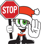 Clip Art Graphic of a Santa Claus Cartoon Character Holding a Stop Sign
