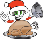 Clip Art Graphic of a Santa Claus Cartoon Character Serving a Thanksgiving Turkey on a Platter