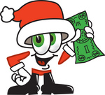 Clip Art Graphic of a Santa Claus Cartoon Character Holding a Dollar Bill