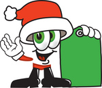 Clip Art Graphic of a Santa Claus Cartoon Character Holding a Green Sales Price Tag