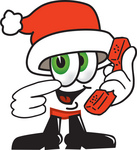 Clip Art Graphic of a Santa Claus Cartoon Character Holding a Telephone