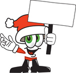 Clip Art Graphic of a Santa Claus Cartoon Character Holding a Blank Sign