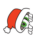 Clip Art Graphic of a Santa Claus Cartoon Character Peeking Around a Corner