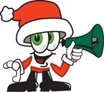 Clip Art Graphic of a Santa Claus Cartoon Character Holding a Megaphone