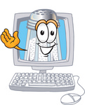Clip Art Graphic of a Salt Shaker Cartoon Character Waving From Inside a Computer Screen