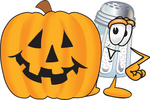 Clip Art Graphic of a Salt Shaker Cartoon Character With a Carved Halloween Pumpkin