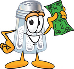 Clip Art Graphic of a Salt Shaker Cartoon Character Holding a Dollar Bill