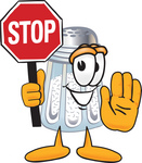 Clip Art Graphic of a Salt Shaker Cartoon Character Holding a Stop Sign