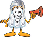 Clip Art Graphic of a Salt Shaker Cartoon Character Holding a Megaphone
