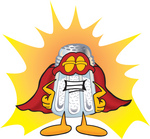 Clip Art Graphic of a Salt Shaker Cartoon Character Dressed as a Super Hero