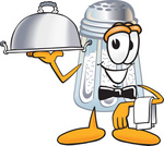 Clip Art Graphic of a Salt Shaker Cartoon Character Dressed as a Waiter and Holding a Serving Platter