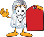 Clip Art Graphic of a Salt Shaker Cartoon Character Holding a Red Sales Price Tag