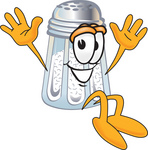 Clip Art Graphic of a Salt Shaker Cartoon Character Jumping