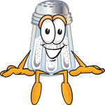 Clip Art Graphic of a Salt Shaker Cartoon Character Sitting
