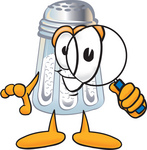 Clip Art Graphic of a Salt Shaker Cartoon Character Looking Through a Magnifying Glass