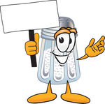 Clip Art Graphic of a Salt Shaker Cartoon Character Holding a Blank Sign