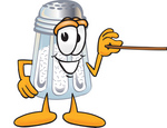 Clip Art Graphic of a Salt Shaker Cartoon Character Holding a Pointer Stick