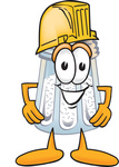 Clip Art Graphic of a Salt Shaker Cartoon Character Wearing a Hardhat Helmet