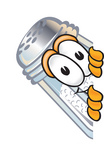 Clip Art Graphic of a Salt Shaker Cartoon Character Peeking Around a Corner
