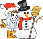 Clip Art Graphic of a Salt Shaker Cartoon Character With a Snowman on Christmas