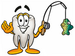 Clip Art Graphic of a Human Molar Tooth Character Holding a Fish on a Fishing Pole
