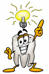 Clip Art Graphic of a Human Molar Tooth Character With a Bright Idea