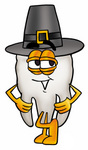 Clip Art Graphic of a Human Molar Tooth Character Wearing a Pilgrim Hat on Thanksgiving