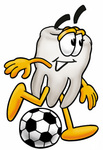 Clip Art Graphic of a Human Molar Tooth Character Kicking a Soccer Ball