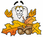 Clip Art Graphic of a Human Molar Tooth Character With Autumn Leaves and Acorns in the Fall