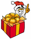 Clip Art Graphic of a Human Molar Tooth Character Standing by a Christmas Present