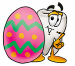 Clip Art Graphic of a Human Molar Tooth Character Standing Beside an Easter Egg