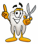 Clip Art Graphic of a Human Molar Tooth Character Holding a Pair of Scissors