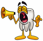 Clip Art Graphic of a Human Molar Tooth Character Screaming Into a Megaphone