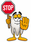 Clip Art Graphic of a Human Molar Tooth Character Holding a Stop Sign