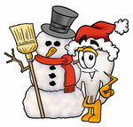 Clip Art Graphic of a Human Molar Tooth Character With a Snowman on Christmas
