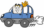 Clip Art Graphic of a Human Molar Tooth Character Driving a Blue Car and Waving
