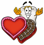 Clip Art Graphic of a Human Molar Tooth Character With an Open Box of Valentines Day Chocolate Candies