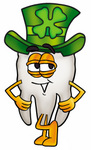 Clip Art Graphic of a Human Molar Tooth Character Wearing a Saint Patricks Day Hat With a Clover on it