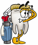 Clip Art Graphic of a Human Molar Tooth Character Swinging His Golf Club While Golfing