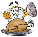 Clip Art Graphic of a Human Molar Tooth Character Serving a Thanksgiving Turkey on a Platter